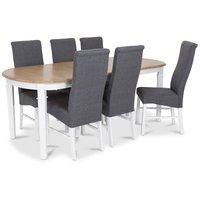 Ramnäs matgrupp - Bord inklusive 6 st Isabelle stolar i grå klädsel - Vit/ekbets