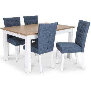 Skagen matgrupp - Skagen 140 cm Bord inklusive 4 st Crocket stolar i blå klädsel - Vit/Ekbets
