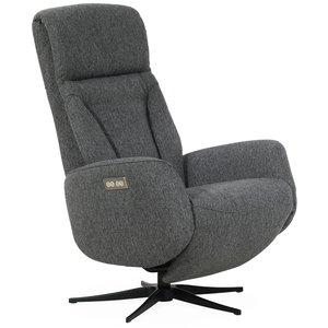 Comfort lyx reclinerfåtölj (2 el-motorer) inbyggt fotstöd - Ljusgrått tyg