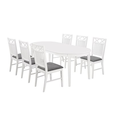 Sofiero matgrupp - Bord inklusive 6 st Gripsholm stolar - Vit