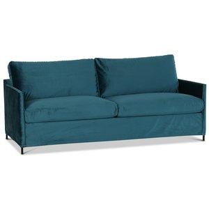 Petit 3-sits soffa loose cover - Petrol (sammet)