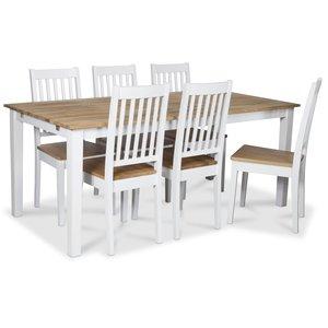 Österlen matgrupp, Klassiskt 180 cm matbord i vit/ek med 6 st Simris matstolar med eksits