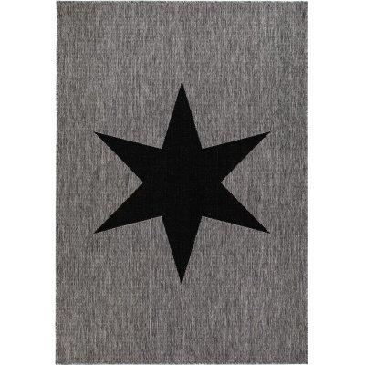 Flatvävd matta Sandby Stjärna - Grå/svart