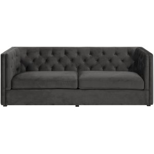 Chesterfield Milano 3-sits soffa - Mörkgrå sammet