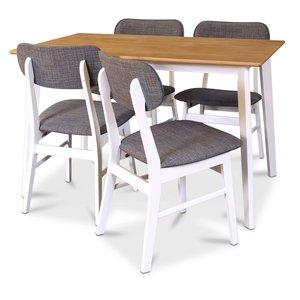 Sarek matgrupp - Bord inklusive 4 st stolar - Vit/ek
