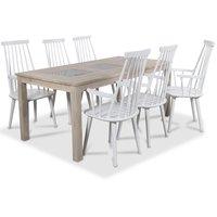 Jasmine matgrupp med bord i whitewash och 6 st vita Dalsland pinnstolar med armstöd