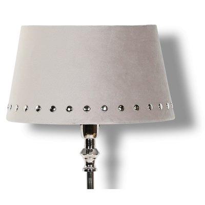 Velvet lampskärm med nitar 33 cm - Beige / Krom