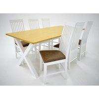 Isabelle matgrupp - Bord inklusive 6 st Vindö stolar - Vit/ek
