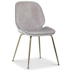 Deco velvet stol - Ljusgrå / Mässing
