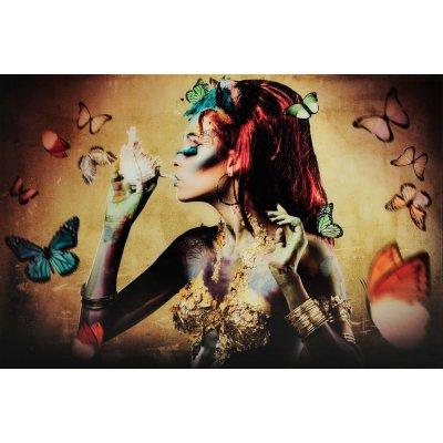 Glastavla Woman with butterflies - Gul