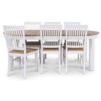 Dalarö matgrupp Ovalt bord vit/ek + 6 st Dalarö stolar