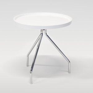 Tray runt lampbord D50 cm - Vit / Krom