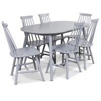 Göteborg Matgrupp - Ovalt matbord med 6 st gråa pinnstolar
