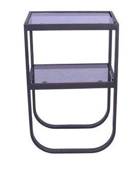 Korsbacken sängbord - Svart/glas
