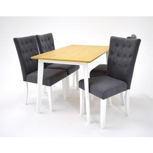 Sarek matgrupp - Bord inklusive 4 st Crocket stolar - Vit/ek