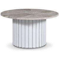 Sumo Soffbord Ø85 - Vitbetsad ek / Silver marmor