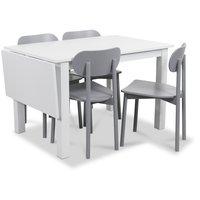 Sander matgrupp, Bord med klaff och 4 st grå Alvaro matstolar