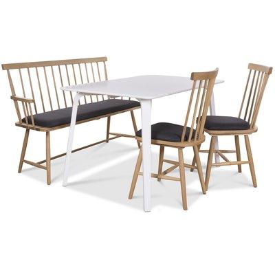 Visby matgrupp - Vitt bord med 2 st Småland pinnstolar och 1 st Småland pinnsoffa - Vit / Ek
