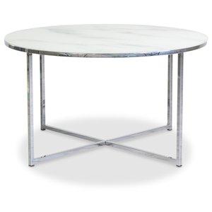 Palasso runt soffbord D80 cm - Krom / Ljus marmorering