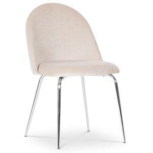 Plaza velvet stol - Beige / Krom