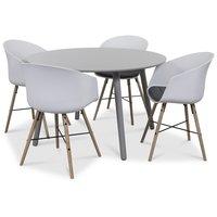 Rosvik matgrupp grått runt bord med 4 st Moon stolar grått tyg - Vit / Grått
