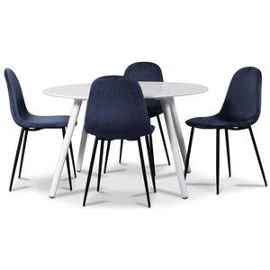 Rosvik matgrupp, matbord med 4 st Carisma sammetsstolar - Vit/Blå
