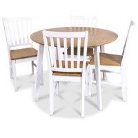 Åminne matgrupp - Runt Bord inklusive 4 st stolar - Vit/ek