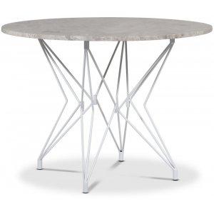 Zoo matbord Ø105 cm - Vit / Silver Marmor