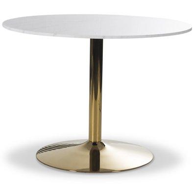 Plaza runt matbord - Vit marmor / Mässing
