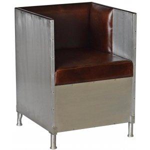 Abbe fåtölj i aluminium - Mörkbrunt läder & 8990.00