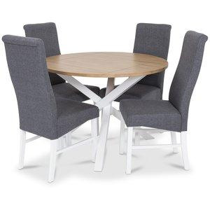 Skagen matgrupp - Runt bord inklusive 4 st grå Isabelle stolar - Vit/Ekbets