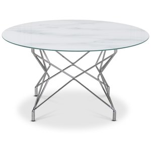 Soffbord Star 90 cm - Vitt marmorerat glas / Kromat underrede