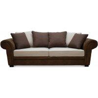 Delux 3-sits soffa med kuvertkuddar - Brun/Beige/Vintage