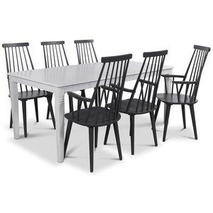 Mellby matgrupp 180 cm bord med 6 st svarta Dalsland Pinnstolar med armstöd