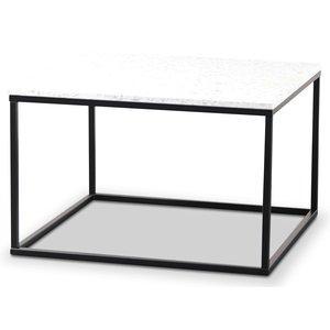 Terrazzo soffbord 75x75cm - Bianco Terrazzo & underrede svart