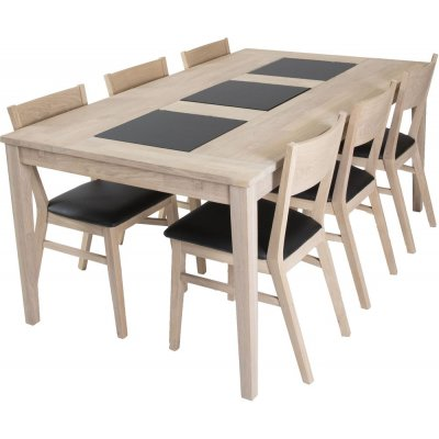 Visingsö matgrupp inkl. 6 st Flen stolar - Vitoljad ek/granit