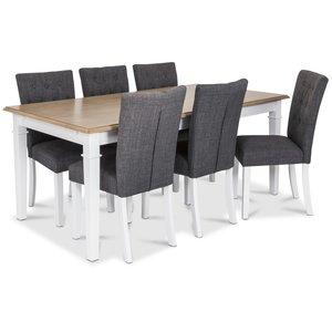 Ramnäs matgrupp - Bord inklusive 6 st Crocket stolar med grå klädsel - Vit/ekbets