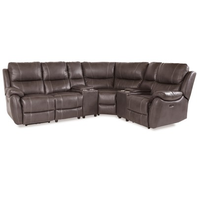 Enjoy recliner-hörnsoffa - 4-sits (el) i Brunt konstskinn (modell V) med två konsoller