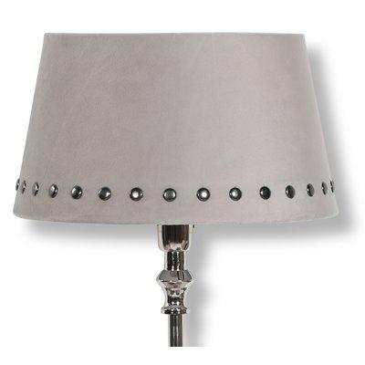 Velvet lampskärm med nitar 25 cm - Beige / Rökfärgat