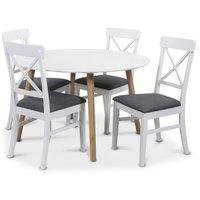 Rosvik matgrupp Runt bord vit/ek med 4 st Elisa
