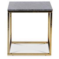 Accent soffbord 50 - Grå marmor / Blank mässing