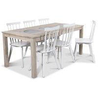 Jasmine matgrupp med bord i whitewash och 6 st vita Linköping Pinnstolar