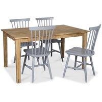Österlen matgrupp, Klassiskt 140 cm matbord i ek med 4 st gråa Pinnstolar