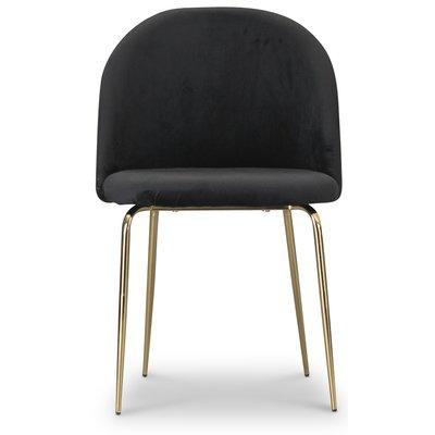 Tiffany velvet stol - Svart/Mässing