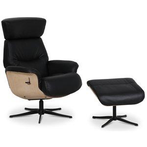 Comfort reclinerfåtölj med fotpall - Svart läder / Trä