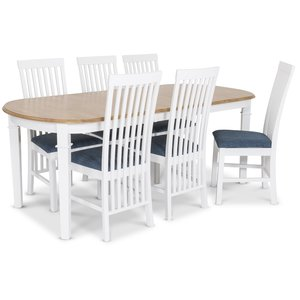 Ramnäs matgrupp - Bord inklusive 6 st Herrgård Vindö stolar med blå sits - Vit/ekbets