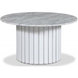 Sumo Soffbord Ø85 - Vitbetsad ek / Ljus marmor