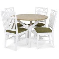 Skagen matgrupp - Runt bord inklusive 4 st Herrgård Gripsholm stolar med grön sits - Vit/Ekbets