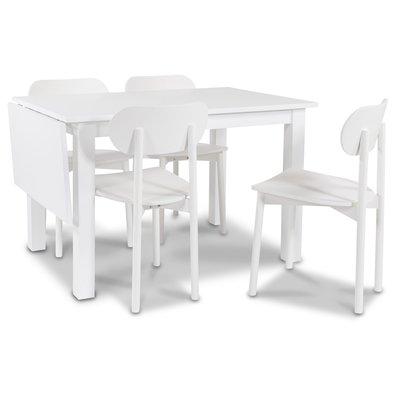 Sander matgrupp Klaffbord + 4 st vita Alvaro stolar