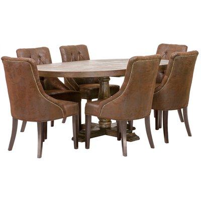 Nykomna Matgrupp: Lamier matbord runt + 6 st Tuva Europa stolar - mocca EI-12
